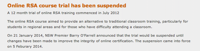 RSA Online Suspended in NSW